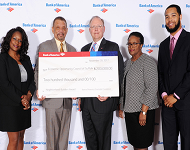The EOC of Suffolk, Inc. proudly receives a grant from Bank of America.